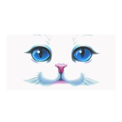 Cute White Cat Blue Eyes Face Satin Wrap