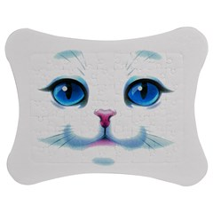 Cute White Cat Blue Eyes Face Jigsaw Puzzle Photo Stand (Bow)