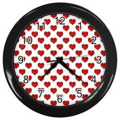 Emoji Heart Shape Drawing Pattern Wall Clocks (Black)