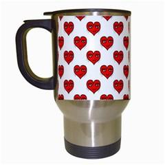Emoji Heart Shape Drawing Pattern Travel Mugs (White)