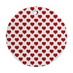 Emoji Heart Shape Drawing Pattern Round Ornament (Two Sides)