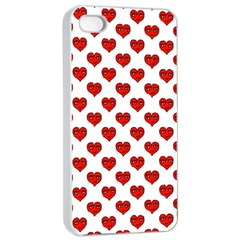 Emoji Heart Shape Drawing Pattern Apple iPhone 4/4s Seamless Case (White)