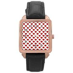 Emoji Heart Shape Drawing Pattern Rose Gold Leather Watch