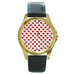 Emoji Heart Character Drawing  Round Gold Metal Watch