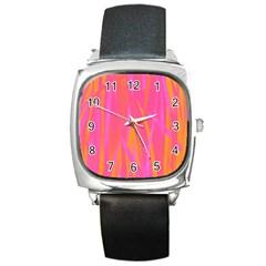 Pattern Square Metal Watch