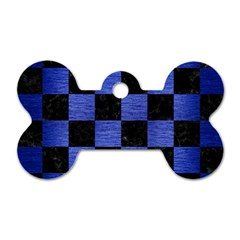 Square1 Black Marble & Blue Brushed Metal Dog Tag Bone (two Sides)