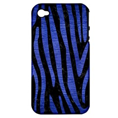Skin4 Black Marble & Blue Brushed Metal (r) Apple Iphone 4/4s Hardshell Case (pc+silicone)