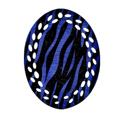 Skin3 Black Marble & Blue Brushed Metal Oval Filigree Ornament (two Sides)