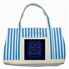 SKN2 BK-MRBL BL-BRSH (R) Striped Blue Tote Bag