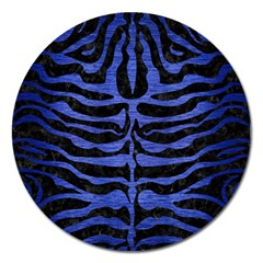 Skin2 Black Marble & Blue Brushed Metal Magnet 5  (round)