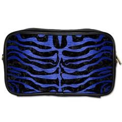 Skin2 Black Marble & Blue Brushed Metal Toiletries Bag (one Side)