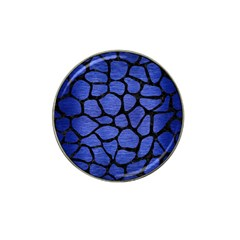Skin1 Black Marble & Blue Brushed Metal Hat Clip Ball Marker (4 Pack)