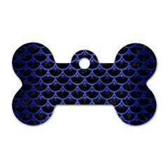 Scales3 Black Marble & Blue Brushed Metal Dog Tag Bone (two Sides)