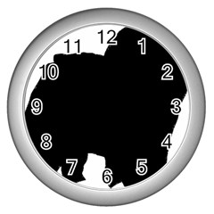 Chow Chow Silo Black Wall Clocks (Silver)