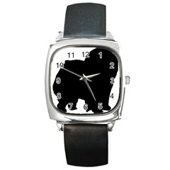 Chow Chow Silo Black Square Metal Watch