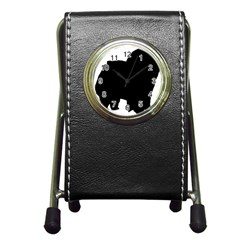 Chow Chow Silo Black Pen Holder Desk Clocks