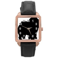 Chow Chow Silo Black Rose Gold Leather Watch