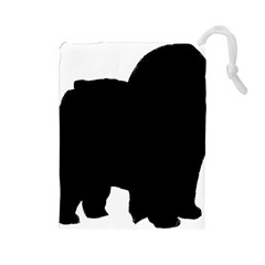 Chow Chow Silo Black Drawstring Pouches (Large)