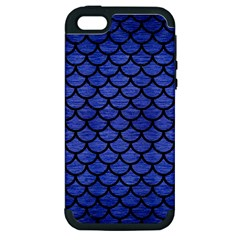 Scales1 Black Marble & Blue Brushed Metal (r) Apple Iphone 5 Hardshell Case (pc+silicone)