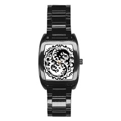 Ying Yang Tattoo Stainless Steel Barrel Watch