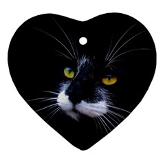 Face Black Cat Heart Ornament (Two Sides)