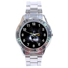 Face Black Cat Stainless Steel Analogue Watch