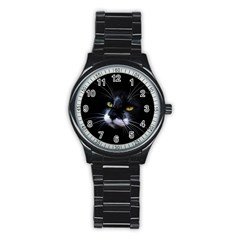 Face Black Cat Stainless Steel Round Watch