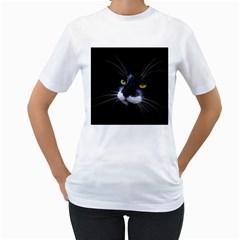 Face Black Cat Women s T-Shirt (White)