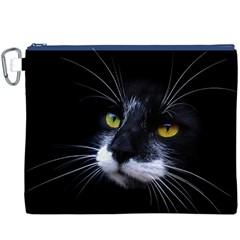 Face Black Cat Canvas Cosmetic Bag (XXXL)