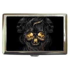 Art Fiction Black Skeletons Skull Smoke Cigarette Money Cases
