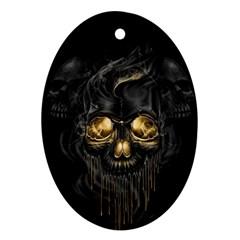 Art Fiction Black Skeletons Skull Smoke Oval Ornament (Two Sides)