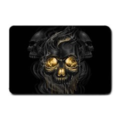 Art Fiction Black Skeletons Skull Smoke Small Doormat