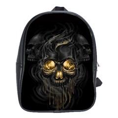 Art Fiction Black Skeletons Skull Smoke School Bags(Large)