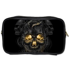 Art Fiction Black Skeletons Skull Smoke Toiletries Bags