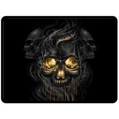 Art Fiction Black Skeletons Skull Smoke Fleece Blanket (Large)