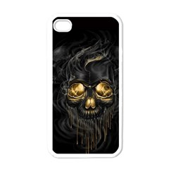Art Fiction Black Skeletons Skull Smoke Apple iPhone 4 Case (White)