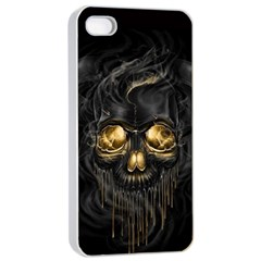 Art Fiction Black Skeletons Skull Smoke Apple iPhone 4/4s Seamless Case (White)