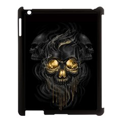 Art Fiction Black Skeletons Skull Smoke Apple iPad 3/4 Case (Black)
