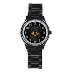 Art Fiction Black Skeletons Skull Smoke Stainless Steel Round Watch