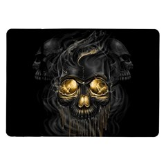 Art Fiction Black Skeletons Skull Smoke Samsung Galaxy Tab 10.1  P7500 Flip Case