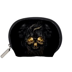 Art Fiction Black Skeletons Skull Smoke Accessory Pouches (Small)