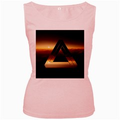 Triangle Penrose Clouds Sunset Women s Pink Tank Top
