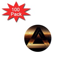 Triangle Penrose Clouds Sunset 1  Mini Magnets (100 pack)
