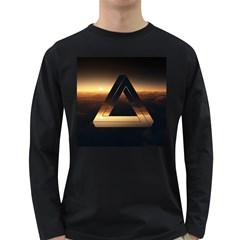 Triangle Penrose Clouds Sunset Long Sleeve Dark T-Shirts