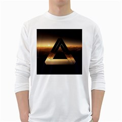 Triangle Penrose Clouds Sunset White Long Sleeve T-Shirts
