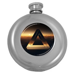 Triangle Penrose Clouds Sunset Round Hip Flask (5 oz)