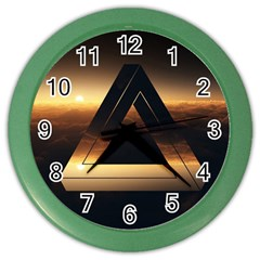 Triangle Penrose Clouds Sunset Color Wall Clocks