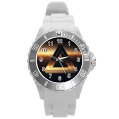 Triangle Penrose Clouds Sunset Round Plastic Sport Watch (L)
