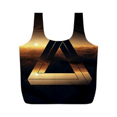 Triangle Penrose Clouds Sunset Full Print Recycle Bags (M)