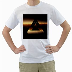 Triangle Penrose Clouds Sunset Men s T-Shirt (White)